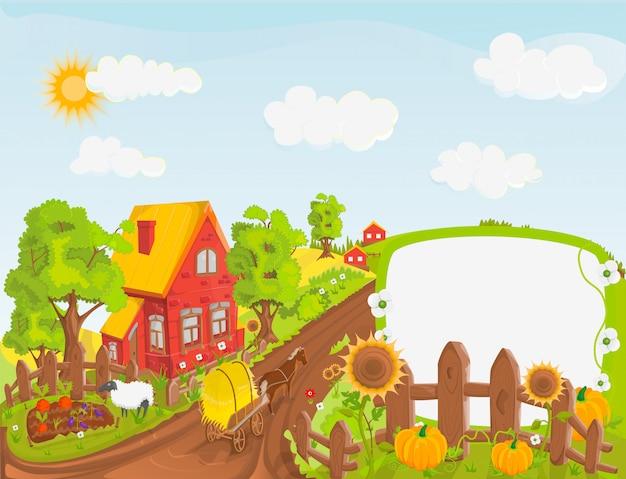 Сельская пейзажная иллюстрация