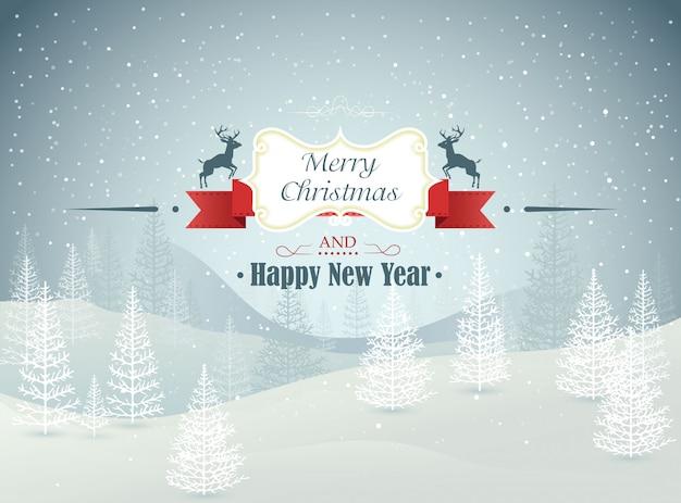 メリークリスマスと新年あけましておめでとうございます冬の降雪のイラストと冬の風景
