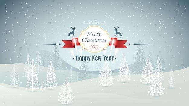 メリークリスマスと幸せな新年の森の降雪と花火のイラストの冬の風景
