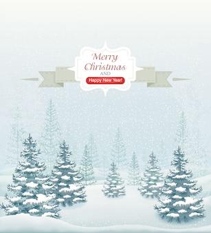 メリークリスマスと幸せな新年の森の降雪とトウヒのイラストの冬の風景