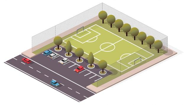 Изометрическое футбольное футбольное поле