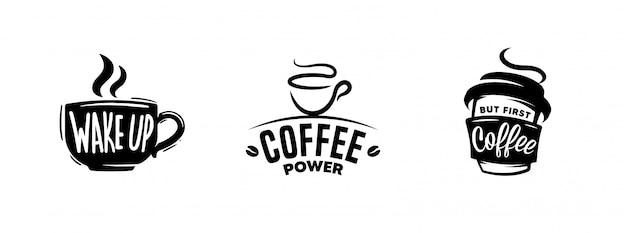 コーヒーのセットは、グラフィック、ロゴ、ラベル、バッジを引用します。