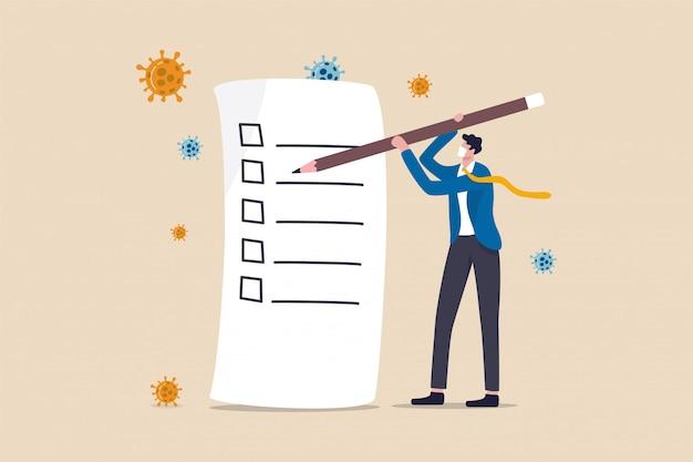 リストまたは新しい通常のポストパンデミックの概念を行うには、鉛筆書きチェックリスト、ウイルス病原体を保持している実業家。