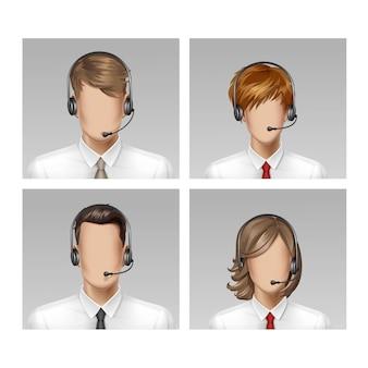 コールセンターオペレーターの男性女性の顔のアバタープロフィール頭髪アイコン背景に設定