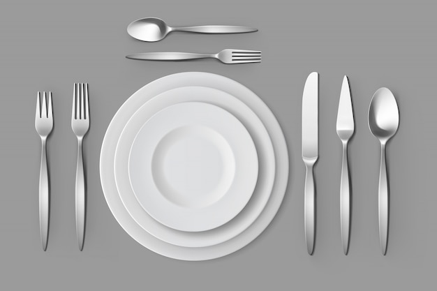 カトラリーシルバーフォークスプーンとナイフプレートテーブルの設定