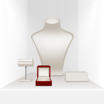 赤い箱が付いている宝石類のための白いネックレスのイヤリングのブレスレットの立場