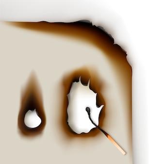 Обожженные края бумаги с отверстиями и сгоревшей спичкой крупным планом, вид сверху на белом фоне