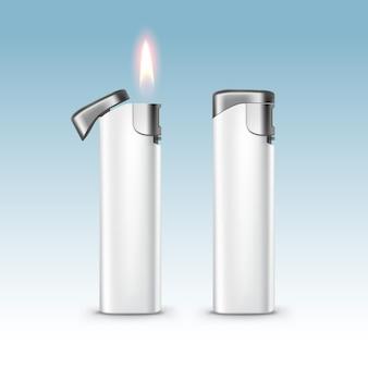 Пустые белые пластиковые металлические зажигалки с пламенем крупным планом