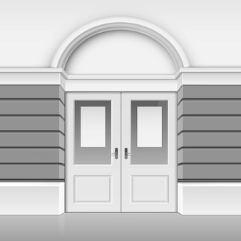 クラシックショップミュージアムブティックビルディングストアフロント、フロントガラスドアを閉めた状態