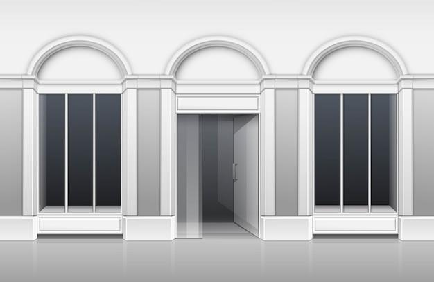 ガラス窓ショーケース付きのクラシックショップブティックビルディングストアフロント
