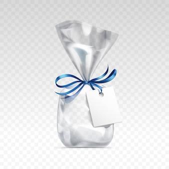 空の透明なプラスチック製のギフトバッグ