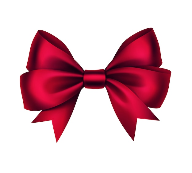光沢のある赤いサテンギフト弓をクローズアップで孤立した白い背景