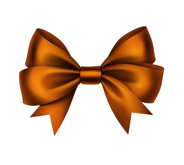 光沢のあるオレンジサテンギフト弓をクローズアップで孤立した白い背景