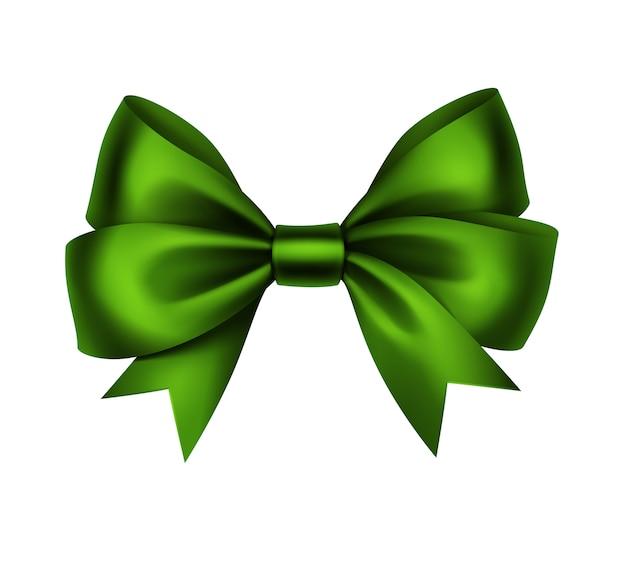 光沢のあるグリーンサテンギフト弓をクローズアップで孤立した白い背景