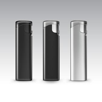 空白の黒いプラスチック金属ライターのセットをクローズアップで孤立した白い背景