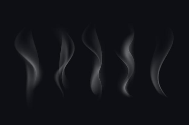 Набор реалистичных белых прозрачных сигаретного дыма волны, изолированных на черном фоне