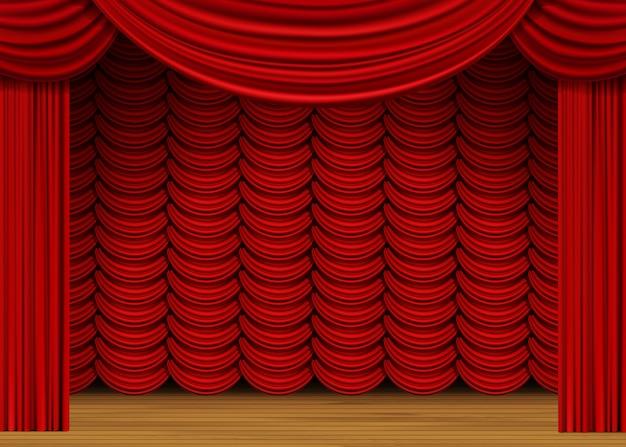 Сцена с красными шторами и деревянным полом