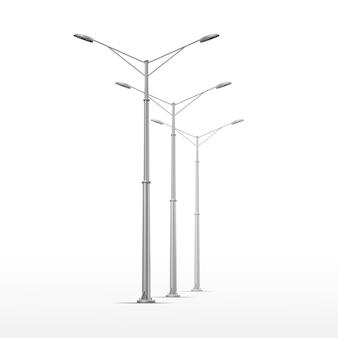 白い背景の上の街路灯