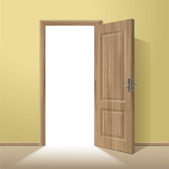 分離されたフレームとベクトル木製オープンドア