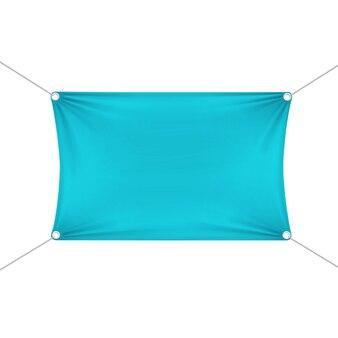 コーナーロープとターコイズブルーの空の空の水平長方形バナー。
