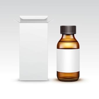 Бутылка медицины вектора пустая медицинская стеклянная с коробкой пакета упаковки жидкости жидкостной