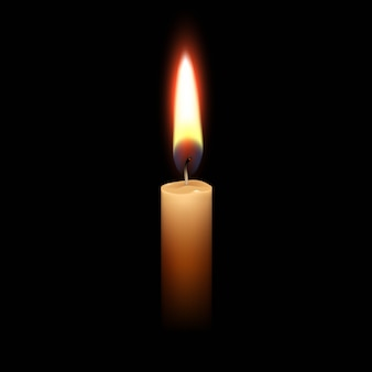 キャンドル炎火の光が黒に分離されました。