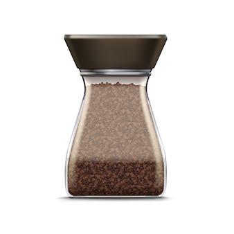 Вектор кофе стеклянная банка упаковка пакет изолирован на белом