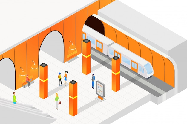 等尺性の人々がプラットフォームの上に立って、電車を待っています