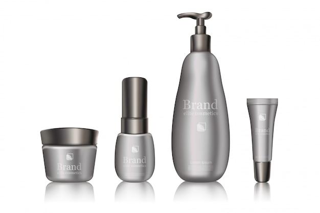 白灰色の化粧品ブランドのボトルパッケージ