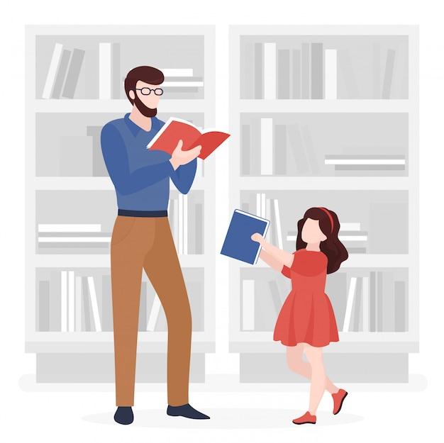 Отец и дочь, чтение книг плоской иллюстрации