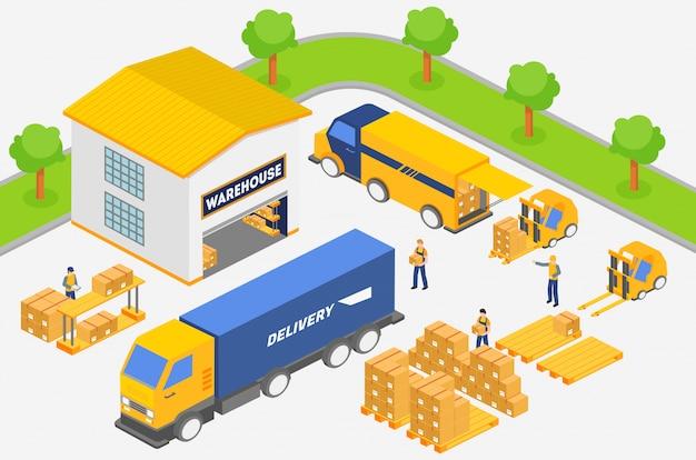 倉庫で働いている間に配達サービスのトラックに箱を置く等尺性の従業員。運輸業界、配送、物流のイラスト