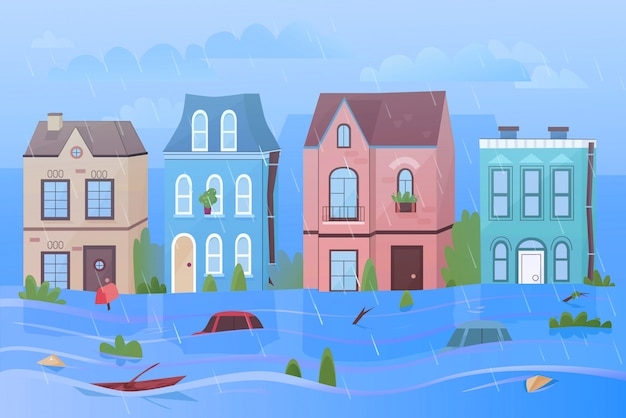 雨と自然災害の洪水漫画イラストパノラマの下の街。家、重い雲、水泳車、木、標識の背景。人、動物、都市への被害