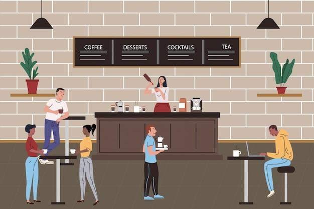Интерьер кафе или ресторана с расслабляющими людьми. бариста девушка делает и подает кофе иллюстрации шаржа