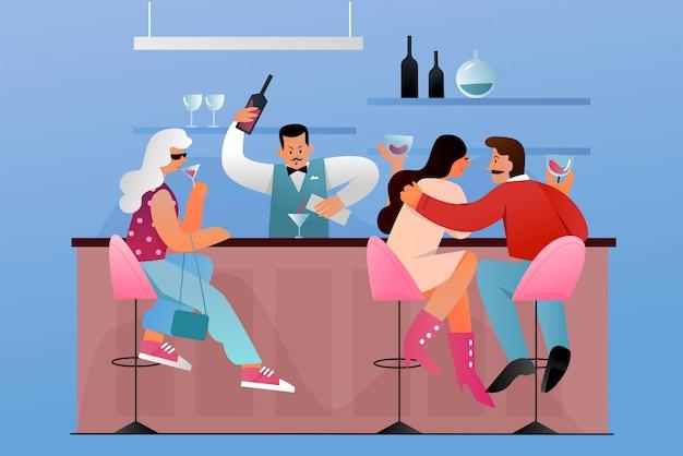 Люди сидят в баре возле прилавка с барменом плоской концепции иллюстрации символов