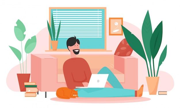 仕事、勉強、自宅で休むキャラフラットベクトルイラスト、ホームオフィス、フリーランスのコンセプト