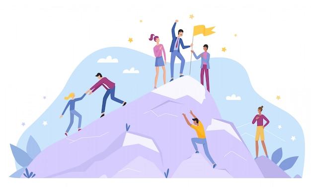ビジネス人々のキャラクターは、トップピークのランディングページフラットベクトル図の概念を登ります。リーダーシップとチームワーク、チームリーダーが道を示し、成功への動機付け、トロフィーフラグを授与、競争環境