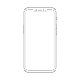トレンディなスマートフォンの外形図。エレガントな細い線スタイルの携帯電話のデザイン