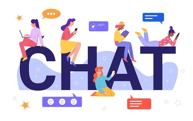 Онлайн чат концепции иллюстрации. мультфильм плоские крошечные персонажи молодой женщины в чате, счастливые виртуальные подруги, чтение, написание сообщений, социальные медиа дружба на расстоянии, изолированные на белом