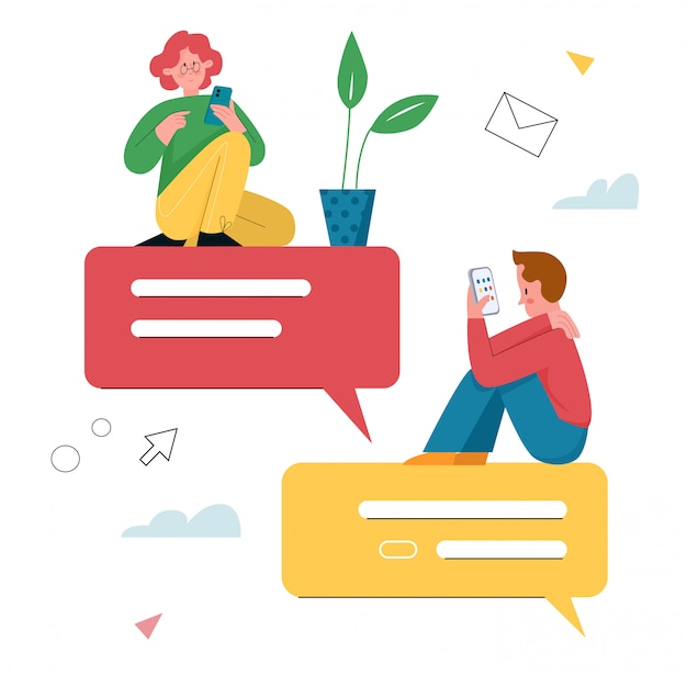 Иллюстрация сообщения чата. мультфильм плоские крошечные персонажи молодой девушки и мальчика в чате в мобильном телефоне, используя мобильное приложение для обмена текстовыми сообщениями на экране смартфона, виртуальный онлайн-диалог, изолированный на белом