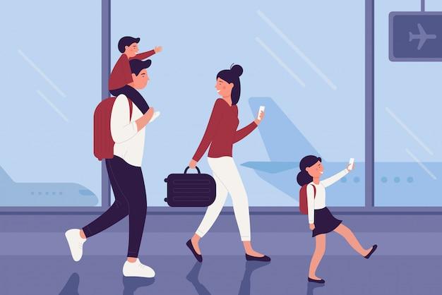空港ターミナルの家族の人々のベクターイラスト