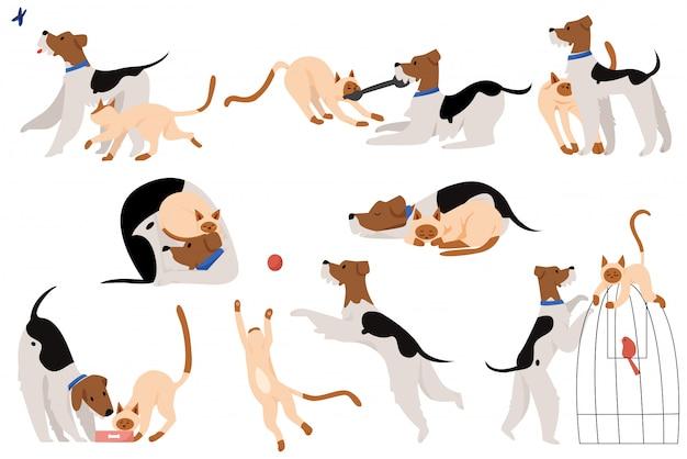 Симпатичные осязаемые моменты дружба собака и кошка плоский мультфильм иллюстрации набор символов