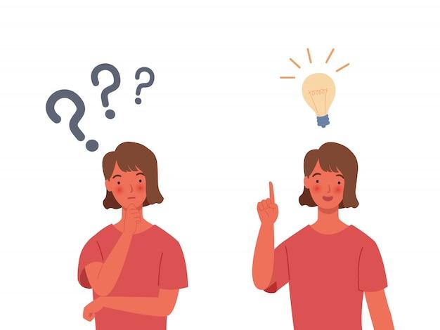 問題解決の概念。女性は考えている-疑問符付き。