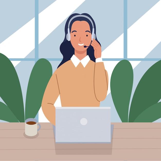 デスクとヘッドセットのラップトップでコールセンターで働く女性。カスタマーサービスとコミュニケーションの概念。フラットスタイルのイラスト