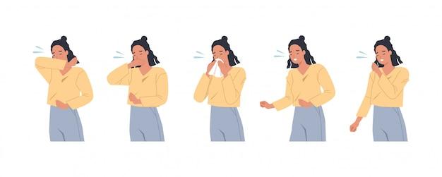 Женский персонаж чихает и кашляет правильно и неправильно. женщина кашляет в руку, локоть, ткани. профилактика от вирусов и инфекций. векторная иллюстрация в плоском стиле