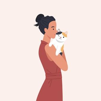 猫を抱いて幸せな女の子。幸せなペット所有者の肖像画。フラットスタイルのベクトル図
