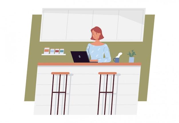 Останься дома. молодая женщина работая на портативном компьютере дома. фриланс, работа на дому, удаленная работа и домашний офис. векторная иллюстрация в плоском стиле