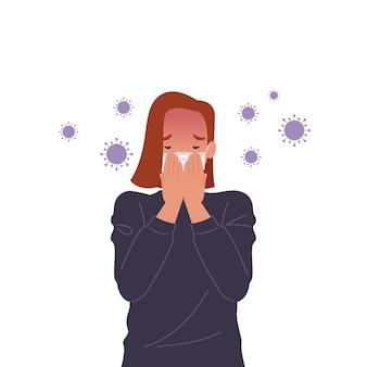 Вирусные микробы распространяются в воздухе. женщина в масках и кашель. иллюстрация в плоском стиле