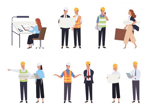 男性と女性の建築家と建設エンジニアのコレクション。職業、職業または仕事のセット。