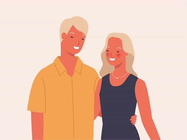 お互いを保持しているカップル。かわいいカップルがお互いをハグします。愛の幸せなカップル。