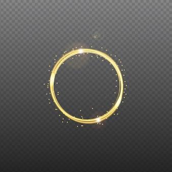 Золотая неоновая круглая рамка со световыми эффектами.